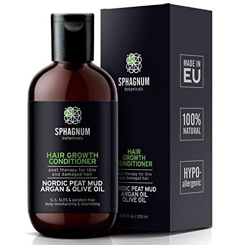 Sphagnum Natural Hair Growth Conditioner - Peat Mud & Argan Oil Treatment for Thin and Damaged Hair. Organic DHT Blocker, Pregnancy Safe. Paraben, SLS, Sulfate Free Best Conditioner for Hair Loss