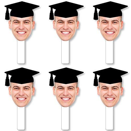 Big Dot of Happiness Grad Cap Fun Face Cutout Paddles - Custom Graduation Photo Head Cut Out Photo Booth and Fan Props - Upload 1 Photo - 6 Piece Cut - Cut Cap Out Grad