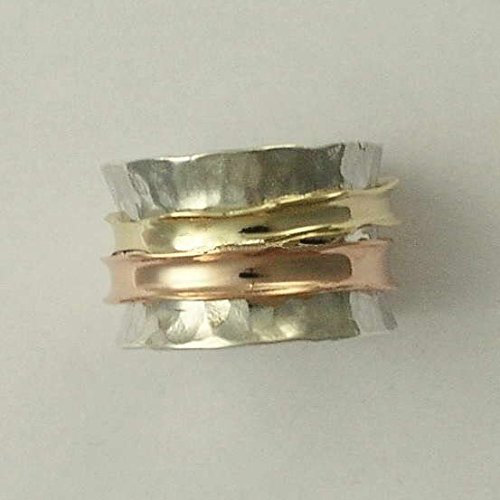 (Wedding Sterling Silver Yellow Gold Rose Gold Ring Wide Meditation Band - Wonderland forever 2 R1026B)