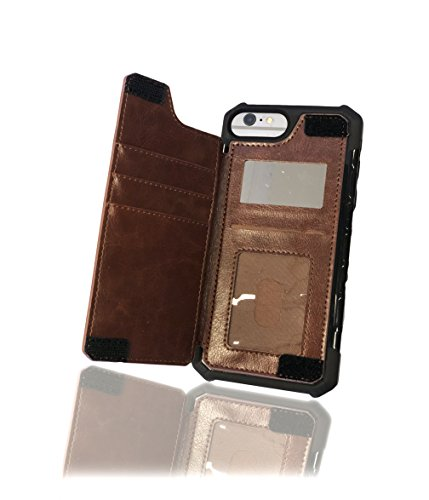 iPhone 8 Plus/7 Plus/6s Plus Wallet Case - AXLEP Credit Card Holder RFID Protected Apple Wallet Case W/Leather Slot, ID Badge Holder & Side Mirror for Essentials Compacted Daily-Use (Brown)