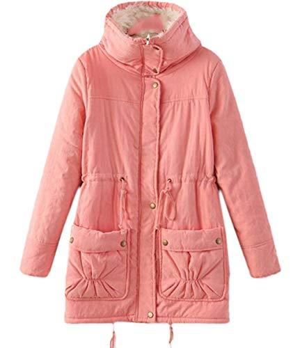 Rose Manteaux un Manteau Vintage Vestes Matelassée pour Glissière Élégant Doublé À Veste Hiver Long Manche Especial Estilo Casual Avec Fermeture Mode Automne femmes Hiver 1qSxwBr1