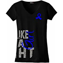 Fight Like a Girl Side Wrap T-Shirt Ladies' V-Neck Black w/ Blue