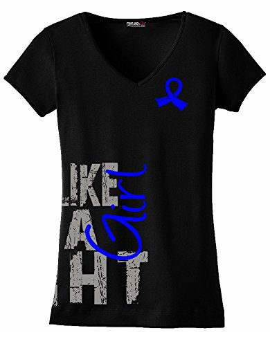 Fight Like a Girl Side Wrap Colon Cancer, Arthritis, CFS Awareness Ladies V-Neck T-Shirt - Black w/Blue [L]
