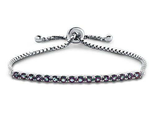 - Finejewelers Sterling Silver Slider Chain Adjustable Bracelet with 16 Round Mystic Topaz Stones