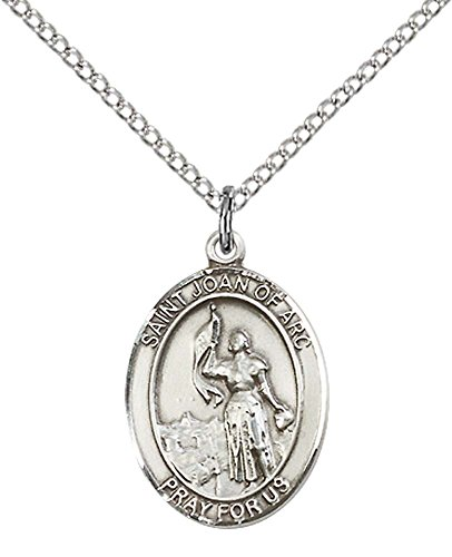 F A Dumont Sterling Silver St. Joan of Arc Pendant with 18