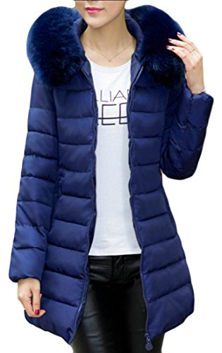 2 Fashion Hooded M Coat amp;W Faux Padding Down amp;S Womens Fur Solid Outwear w77Xz6q