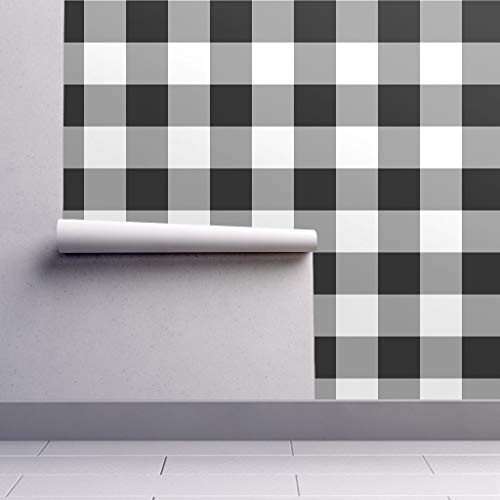 - Peel-and-Stick Removable Wallpaper - Large Gingham Large Gingham Gray Black Check Buffalo Check Neutral by Peacoquettedesigns - 24in x 96in Woven Textured Peel-and-Stick Removable Wallpaper Roll