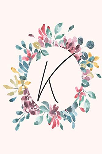 K: Personalized Notebook Journal for florists, wedding planner, bride's maid gift, wedding decorators with floral cover college lined