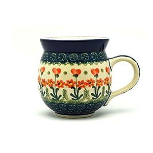 Polish Pottery 16 Oz. Bubble Mug – Peach Spring Daisy Ceramika Artystyczna