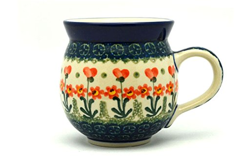 Polish Pottery Mug - 15 oz. Bubble - Peach Spring Daisy - Daisy Coffee Cup