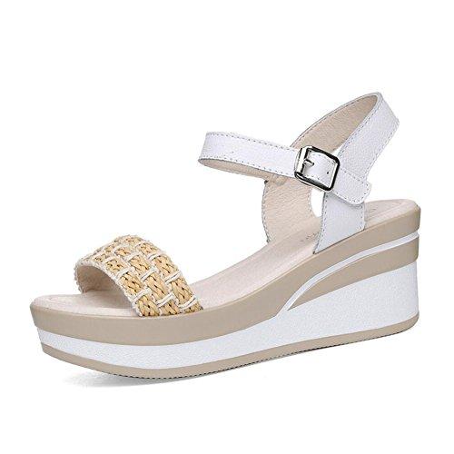 Zapatos de Mujer Primavera y Verano Plataforma de Plataforma de Punta Abierta Impermeable Muffin con Palabra Hebilla Zapatos Casuales Viajes Sandalias de Mujer (Color : Blanco, tamaño : 35)