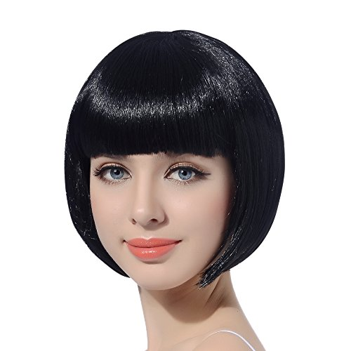 Black Short Bob Cosplay Flapper Wig-Synthetic Costume Women's Natural Looking Halloween Party Christmas Bangs Wigs -
