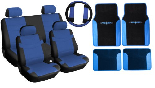 (Two Tone PU Synthetic Leather Seat Covers & Floor Mats Set 15pc Black & Blue