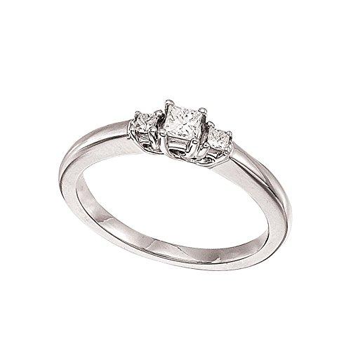 14k White Gold 0.25 Ct Three Stone Trellis Diamond Ring (Size (0.25 Ct Three Stone)
