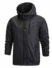 Men's Front-Zip Lightweight Hooded Rain Windbreaker Jacket