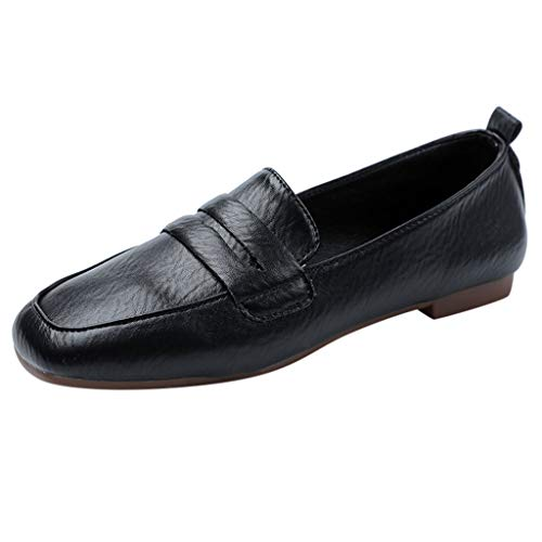 - Goddessvan Women's Retro Brogue Carving Penny Loafer Leather Casual Flat Shoes for Women Ladies Girls Black