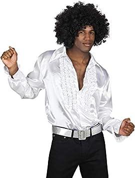 Magic Box Disco de los años 70, Camisa Blanca con Volantes Medium (37-40