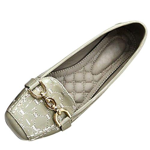 Azbro Mujer Zapatos de Tacón Planos Decoración Hebilla Metal Puntera Cuadrada Beige