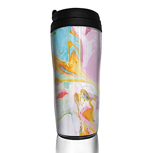 coffee cups with lids Apartment Decor,Psychedelic Digital Interlace Wavy Formless Splashes Contemporary Illustration,Multi 12 oz,reusable cup for iced coffee