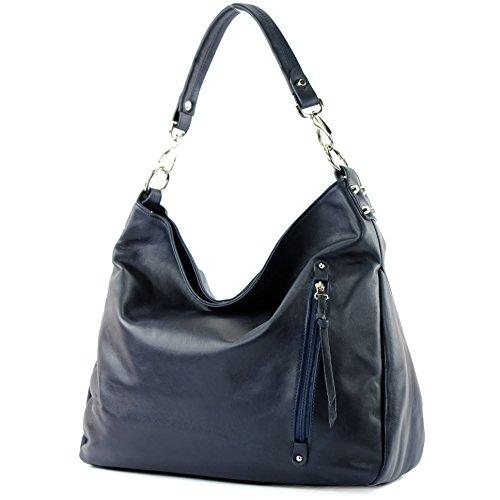 modamoda de - Made in Italy - Bolso al hombro para mujer ver descripción Mitternachtsblau Nappaleder