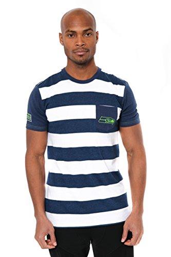NFL Men's Seattle Seahawks T-Shirt Stripe Pocket Short Sleeve Tee Shirt, Large, Navy