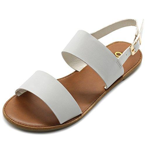 Ollio Women's Shoe Two Strap Sling Back Flat Sandals MG31 (7 B(M) US, White)