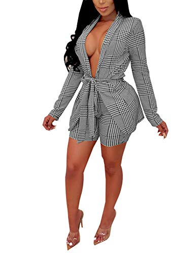 (Women's Striped Two Piece Outfits - Sexy Open Front Blazer Jacket and Skinny Shorts Set Belted Medium)