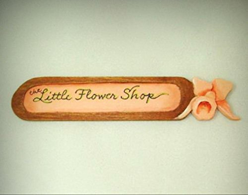 Mini Lorraine Heller Handpaint Little Flower Shop Sign 1:12 Dollhouse Miniatures - My Mini Garden Dollhouse Accessories for Outdoor or House Decor