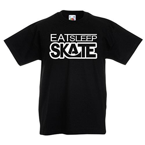 T Shirts for Kids Eat Sleep Skate - for Skaters, Skate Longboard, Skateboard Gifts (9-11 Years Black White)
