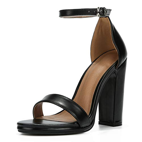 Womens Block High Heel Sandals Ankle Strap Chunky Open Toe Pumps Dress Party Shoes PU Black-41 (255/US9.5)