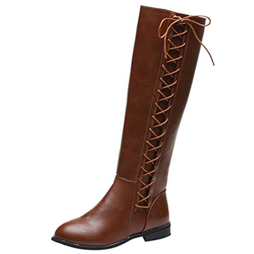 NEARTIME Women Leather Mid Boots, Fashion Zipper Square Heel High Boots Casual Knee-High Shoes Lace up Outdoor Booties Brown