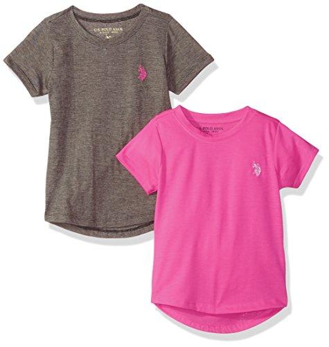 (U.S. Polo Assn. Little Girls' 2 Pack Short Sleeve T-Shirt, Multi-3465, 5/6)