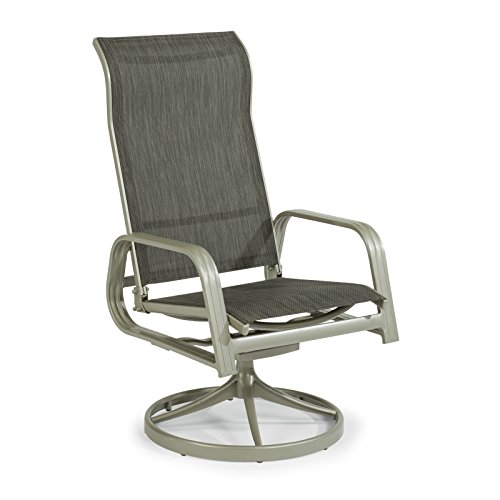 South Beach Gray Sling Swivel Rocking Chair by Home Styles (Patio Swivel Chairs Sling Aluminum)