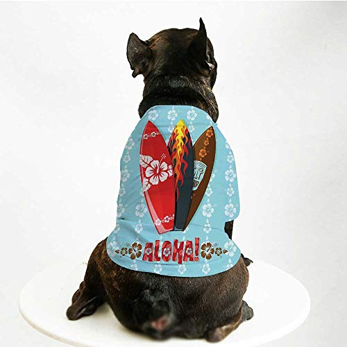 (YOLIYANA Surf Stylish Pet Suit,Illustration of Modern Aloha Surfboards with Hibiscus Tribal Mask Flame Extreme Sports for Small Medium Big Dogs,L)