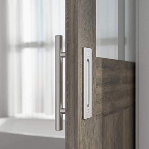 SEIDO Heavy Duty 10 Inches Pull and Flush Barn Door Handles Set, Large Rustic Two-Side Design, for Gates Garages Sheds Furniture, Satin Stainless Steel Finish, Round by SEIDO (Image #2)