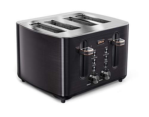 CRUX (14807) 4 Slice Toaster Black Stainless Steels