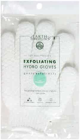 Earth Therapeutics Hydro Exfoliating Gloves, White, 1 pair (Pack of 4)
