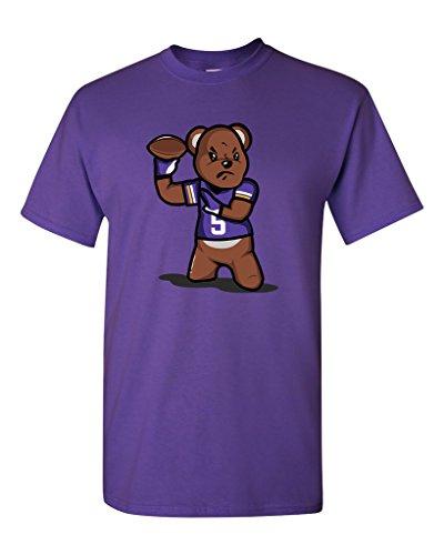 Teddy Bear Quarterback Sports Football Funny DT Adult T-Shirt Tee (Large, Purple)