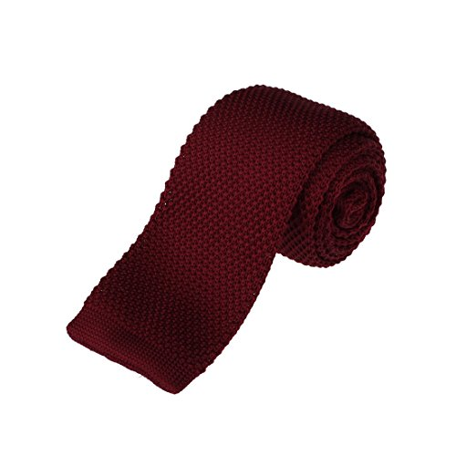 Knit Tie - DAO3E01D Dark Red Solid Selection For Party Skinny Knit Neck Tie Woven Microfiber Elegant For Birthday By Dan Smith