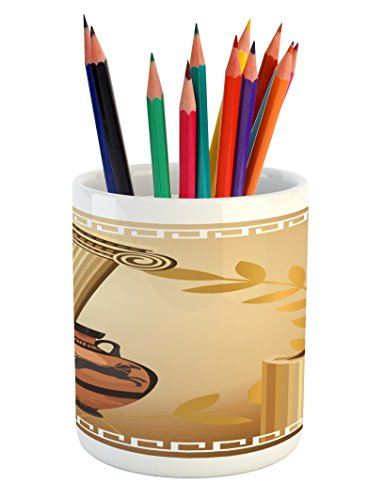 Ambesonne Toga Party Pencil Pen Holder, Antique Greek Columns Vase Olive Branch Hellenic Heritage Icons, Printed Ceramic Pencil Pen Holder for Desk Office Accessory, Pale Brown Cinnamon White (Heritage Vases)
