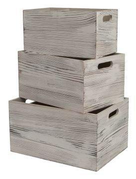 best ambiente Caja Madera Cajas Juego de 3 Crema - Caja para ...