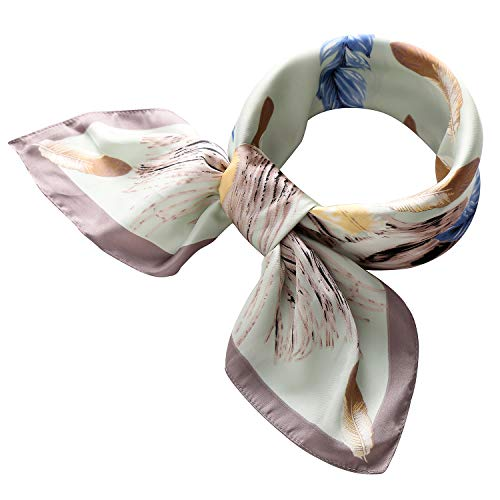 RIIQIICHY Women's 27.13'' Silk Satin Square Feather Print Hair Head Scarf Neckerchief