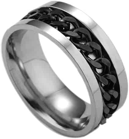 3fec37933 Lethez Men's Titanium Rings, Cross Border Stainless Steel Rotation Ring  Matte Ring Couple Engagement Jewelry