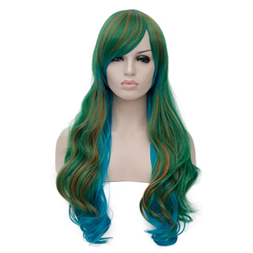 Pretty In Pigtail Wig (TopWigy Two Tone Highlights Party Costume Cosplay Wigs Makishima Yusuke Ombre Long Wavy Synthetic Wig+Wig Cap)