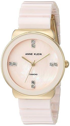 Anne Klein Women's AK/2714LPGB Diamond-Accented Gold-Tone and Light Pink Ceramic Bracelet Watch