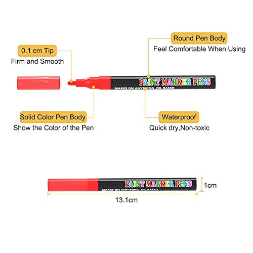 Acrylic Paint Pens, 16 Colors 1MM Permanent Marker Pens, Rock Drawing Pens for DIY on Porcelain/Wood/Glass/Pebbles, Waterproof/Oil-Based/Quick-Dry/Non-Toxic Paint Markers