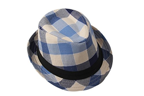Dantiya Kids' Little Boys Plaid Cotton Fedoras Hat Cap 02