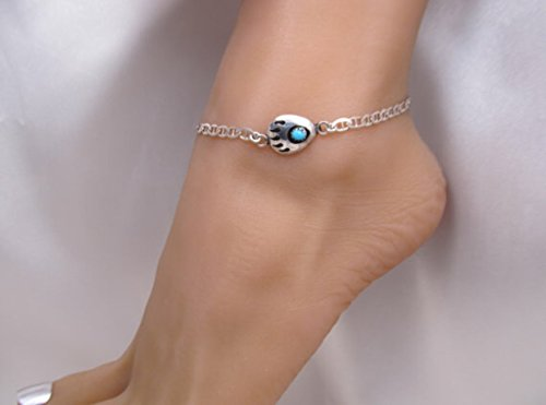 Sterling Bear Claw (Turquoise Bear Paw Claw Shadowbox Sterling Silver Anklet Ankle Bracelet Adjustable)