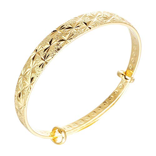 L & J 18K Yellow Gold Plated Classical Diamond-Cut Bangle Bracelet for Women, Adjustable Length