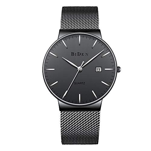 Mens Watches Stainless Steel Slim Wrist Watch Analog Quartz Simple Design Watches with Mesh Band (Black) ()